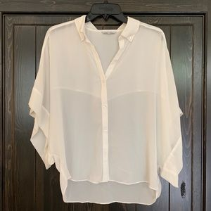 Chiffon loose fitted short sleeve button down